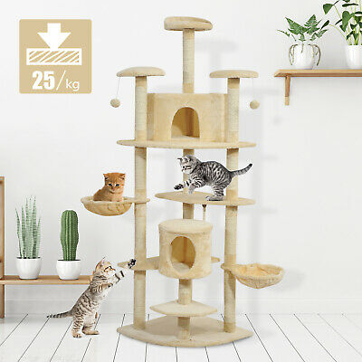 "79"" Scratching Cat Tree Condo Kitten Scratch Activity Center Toys Beige"
