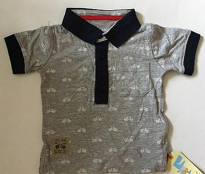 Baby Boys Grey with Navy Trim and Bicycle detail