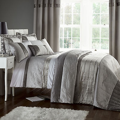 Catherine Lansfield Gatsby Silver Sequin White Duvet Quilt Cover Bedding Set