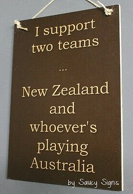 New Zealand versus Australia Kiwi All Blacks Rugby Cricket Netball Wooden Sign