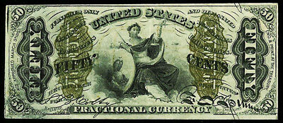 1864-1869 Us 50 Cents Fractional Lady Justice Note Fr 1368 Condition Au