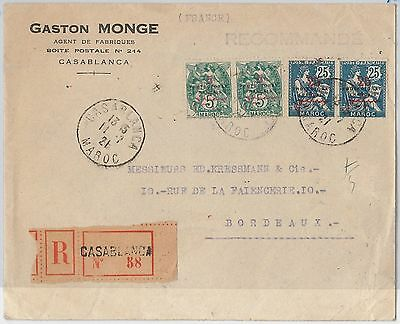 PROTECTORAT FRANCAISE MAROC Morocco -  POSTAL HISTORY - COVER to FRANCE 1921
