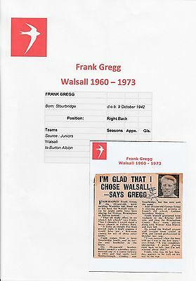 Frank Gregg Walsall 1960-1973 Original Hand Signed Newspaper Picture Cutting