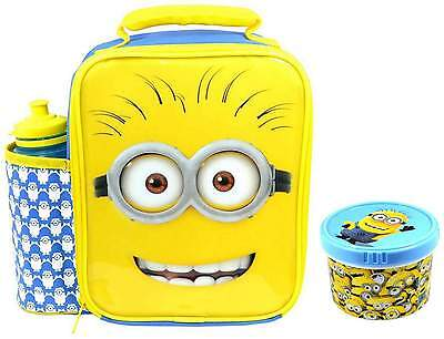 Despicable Me Minions Deluxe Lunch Bag/Box and Bottle Set with Snack Pot