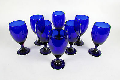 """LOT of 8 Eight Cobalt Blue """" LIBBEY """" Wine Goblet Tulip Cocktail Water Glasses"""