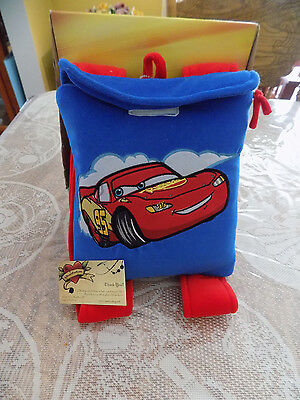 Disney Pixar Cars Blanket & Backpack Lightening Mcqueen Zippered Velcro Blue New