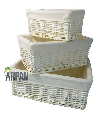 Hamper Storage Basket White Wicker Gift With White Lining- Small,Medium/ Large