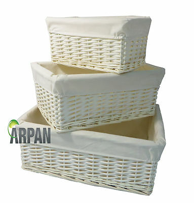 White Wicker Gift Hamper Storage Basket With White Lining- Small,Medium/ Large