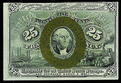 1863 -1867 Us 25 Cents Fractional George Washington Note Fr 1288 Cu Condition