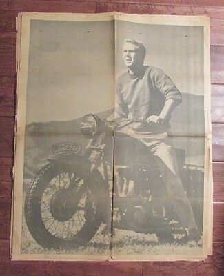 1960's Chicago's American Picture Poster STEVE McQUEEN on Motorcycle VG- 24x30