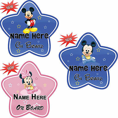 Personalize / Customize Name Mickey / Minnie Baby On Board Car Sign