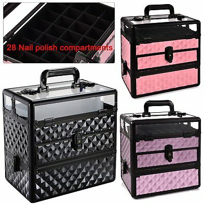 Fashion Extra Large Storage Make Up Beauty Box Nail Jewelry Cosmetic Vanity Case