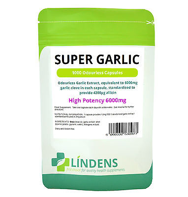 SUPER GARLIC 6000mg odourless (120/365/1000 Capsules) Oil Softgels Lindens heart