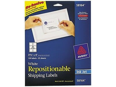 Avery 58164 Re-hesive Inkjet Labels, 3 1/3 x 4, White, 150/Pack