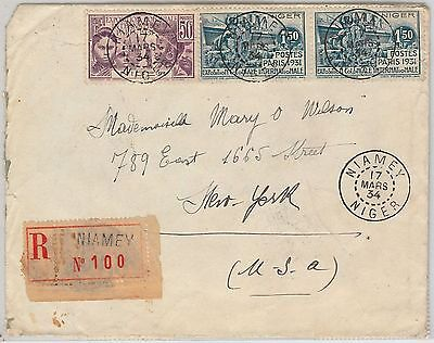 AOF  NIGER -  POSTAL HISTORY: REGISTERED COVER from Niamey to USA 1934