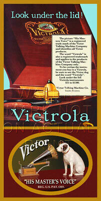 """12"""" X 24"""" Repro Victor Talking Machine Phonograph Advertisement Canvas Banner"""