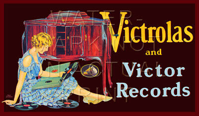 """24"""" X 14"""" Reproduced Victor Victrola Phonograph Advertisement Canvas Banner"""