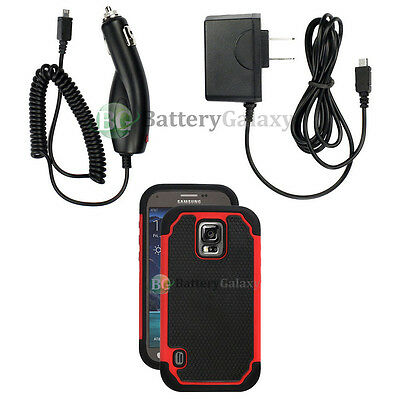 Battery Wall AC+Car Charger+Hybrid Rubber Case Red for Samsung Galaxy S5 Active