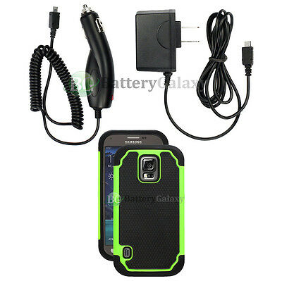 Battery Wall+Car Charger+Hybrid Rubber Case Green for Samsung Galaxy S5 Active