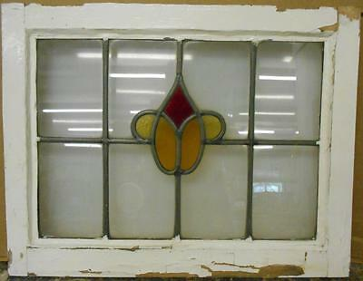 "OLD ENGLISH LEADED STAINED GLASS WINDOW Abstract Floral Design 21.75"" x 17"""