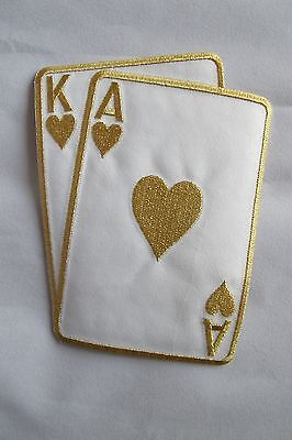 "2265LB 5-1//2/"" Gold Poker Card Ace King Of Diamond Suit Embroidery Applique Patch"