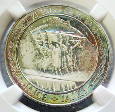 1968 Silver Yugoslavia 20 Dinara 25Th Anniv Ngc Proof 67 Uc *spectacular Colors