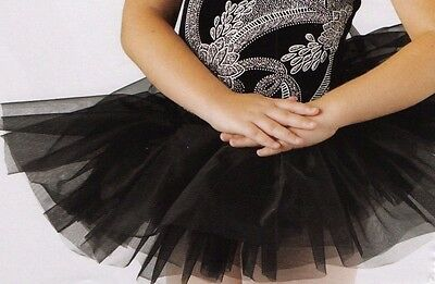 NWT Short Black Graduated Classical Tutu 5 tier heavily ruffled organdy ch/adult