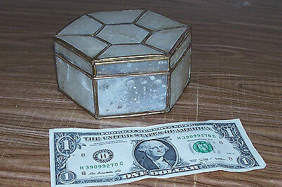 Antique Mother of Pearl Vanity Box Jewelry Ring Shell Old Vintage Powder Case