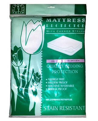 Set of 2 KING-SINGLE 3/4 THREE QUARTER MATTRESS PROTECTOR STAIN RESIST STRAPPED
