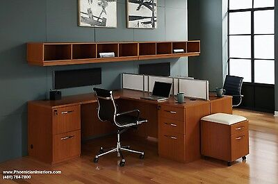 Set of 2 Person L Shaped Desks Office Furniture Benching Workstations 4 COLORS