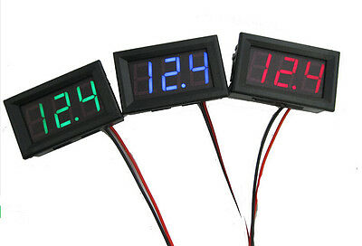 Red Mini DC 2.5-30V LED Panel 3-Digital Display Two Wires Voltage Voltmeter BUAU