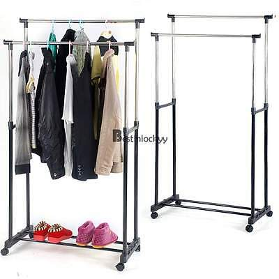 Pro Double Bar Rolling Clothing Garment Retail Display Rack Locking Casters