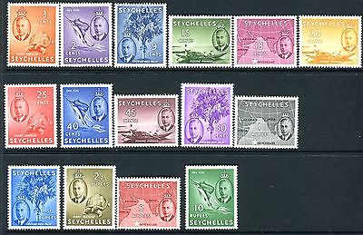 SEYCHELLES-1952 2c-10r Set of 15.  A fine mounted mint set Sg 158-172