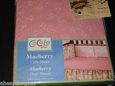 Cocalo Baby Infant Crib Sheet New Maeberry Pink Girl Floral Yellow White Fitted