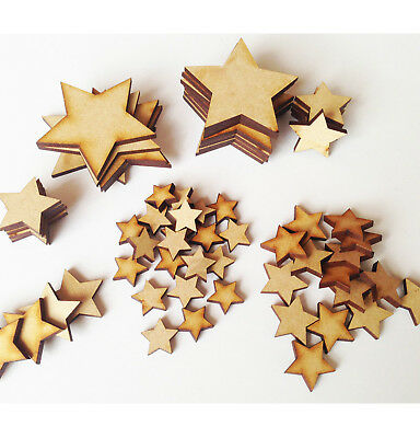 200 x Wooden Mixed Star Christmas Embellishments Stars Art Craft Cardmaking MDF