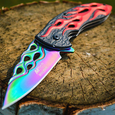 "8"" SPRING ASSISTED OPEN Flame Blade FOLDING POCKET KNIFE Rainbow Tactical Switch"