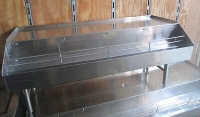 """54"""" Stainless Steel Back Bar Glass Drainboard w/ Double Liquor/Syrup Speed Rail"""