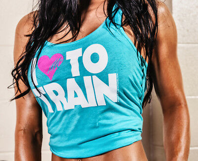 New Womens Muscle Club Apparel I LOVE TO TRAIN Workout Racerback Gym Fitness Top