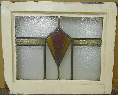 """OLD ENGLISH LEADED STAINED GLASS WINDOW Geometric Band Design 19"""" x 15.75"""""""