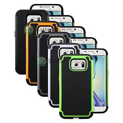 Lot of 5 Black/Orange/White Hybrid Rugged Rubber Case for Samsung Galaxy S6 Edge