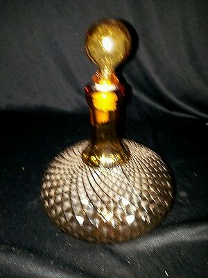 Mid Century Diamond Pattern Hand Blown Amber Glass Decanter Made in Italy