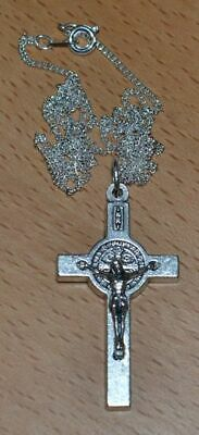 St Benedict Crucifix, 40mm Silver Tone Metal, With 52cm Fine Silver Plated Chain