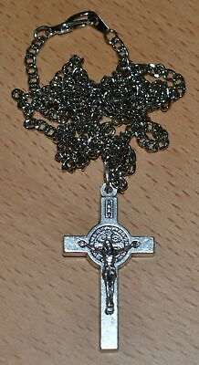 St Benedict Crucifix, 40mm Silver Tone, With 60cm Stainless Steel Quality Chain