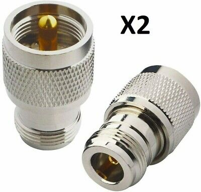 2 x UHF Male PL259 to N Type Female Adapter