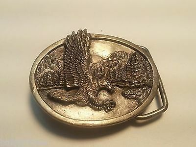 Vintage 1980s Pewter Magnificent Eagle M15 Belt Buckle by Siskiyou Buckle Co USA