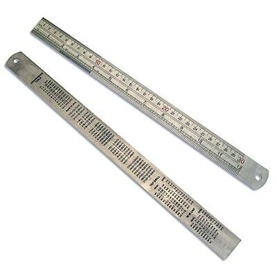 """12"""" 300mm STAINLESS STEEL RULER RULE - DUAL MARKINGS - CONVERSION TABLE ON REAR"""