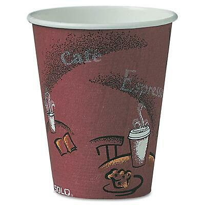 Solo Hot Drink Cups 8 oz Maroon 500ct Paper Bistro Design, Coffee Cup, Use To go