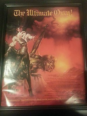 Ozzy Osbourne The Ultimate Sin Rare Promo Poster Ad Framed! Printed Once!