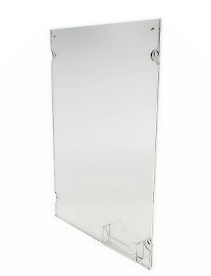 Acrylic Sign Holder for Wall Business Card Pocket Silver Standoffs - Clear 19741