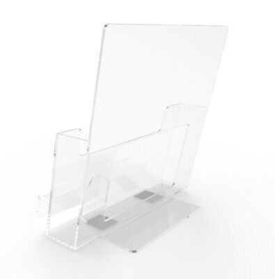 Literature Holder for Tabletop, with Business Card Pocket - Clear Plastic 19745